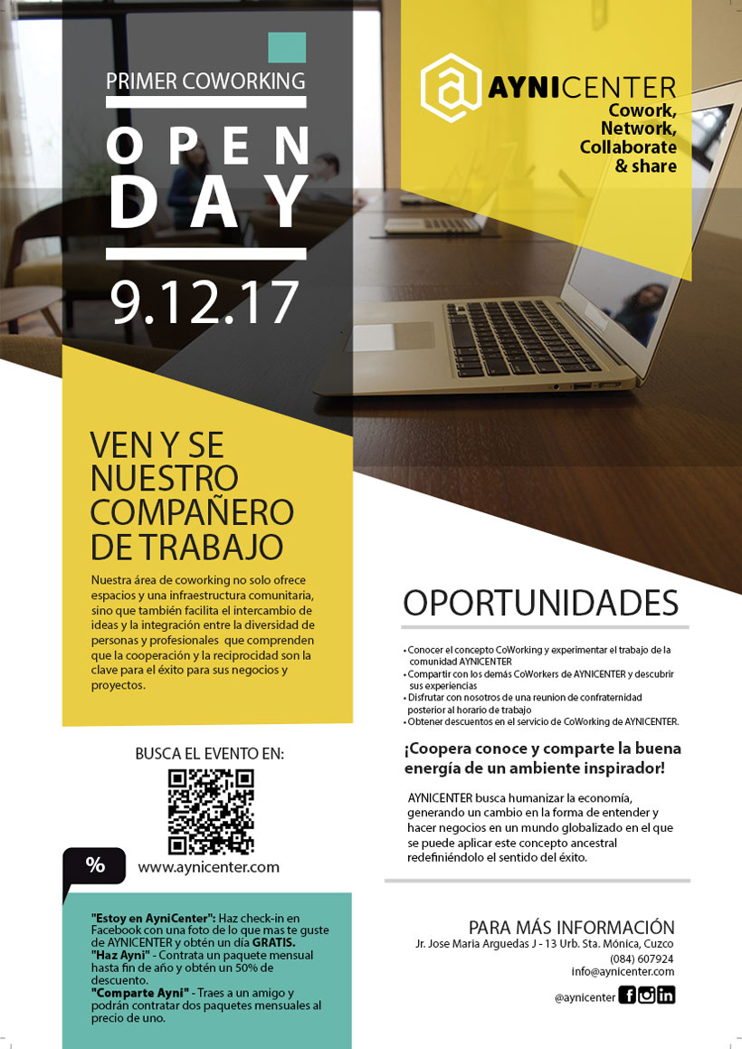 Primer Coworking OPEN DAY  AYNI CENTER